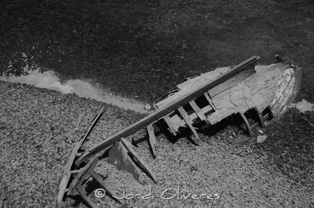 Esquelet d'una barca a Arrecife